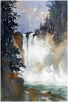 Beautiful watercolor landscape I love this inspirational landscape and the push and pull of the dark foreground landscape art painting water waterfall artistsresources artiststips howto illustrate illustrators create DIY beautiful # Art Aquarelle, Watercolor Water, Watercolor Landscape Paintings, Watercolor Artists, Abstract Landscape, Landscape Sketch, Abstract Paintings, Watercolor Trees, Watercolor Portraits
