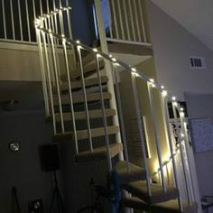 Added a little pizzazz to the staircase with lights from Onesteptimers.