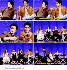 "Teen Wolf cast at PaleyFest 2015.   AHAHAHAHAHAHAHA! ""You're good, RUN RUN RUN!"" AHAHAHAHAHAHAHA!"