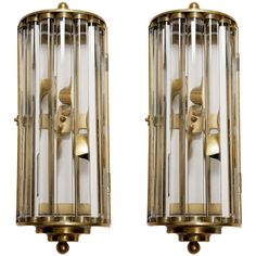 Italian brass and crystal bar wall lights | From a unique collection of antique and modern wall lights and sconces at http://www.1stdibs.com/furniture/lighting/sconces-wall-lights/