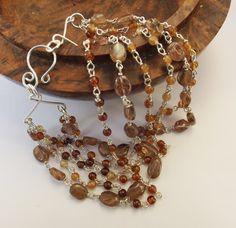 Andalusite bracelet, hessonite bracelet, hessonite garnet, sterling silver, multistrand bracelet, beaded bracelet, by graciedot on Etsy