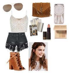 """""""coachella"""" by xxaleenxx ❤ liked on Polyvore featuring Sans Souci, Yves Saint Laurent, Flash Tattoos, Gianvito Rossi, Oliver Peoples, Bobbi Brown Cosmetics, Lipstick Queen and REGALROSE"""