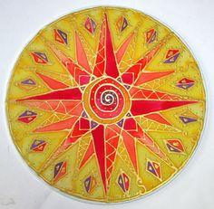 Jaune Mandala de chakra, plexus solaire, chakra art mandala soleil, Don spirituel, art du mandala, spirituel art, art de la méditation, reiki art, art de guérison