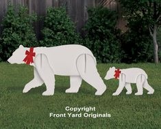 All-Weather Polar Bear and Cub Yard Display – Front Yard Originals Polar Bear Christmas Decorations, Christmas Yard Art, Christmas Wood, Outdoor Christmas Decorations, Christmas Ornaments, Christmas Time, Wood Yard Art, Wood Craft Patterns, Bear Decor
