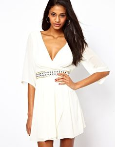 Shop TFNC Wrap Front Dress with Embellished Waist at ASOS. Wrap Front Dress, Tfnc, Simple Dresses, Semi Dresses, Vintage Style Dresses, Fashion Beauty, White Dress, Cute Outfits, Bridesmaid Dresses
