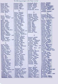 Page 4 of the list of Missing and Deceased from the TITANIC Titanic History, Titanic Movie, Rms Titanic, Titanic Underwater, Titanic Museum, Star Ocean, A Night To Remember, Beneath The Surface, Historical Artifacts