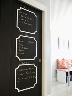 Sliding closet doors updated with chalkboard paint and fretwork by O'verlays. I would love to do this!