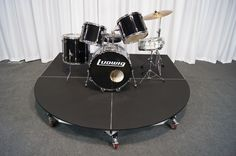 Rolling drum riser by Quik Stage. A unique, new product for your drums. Garage Studio, Home Studio, Music Furniture, Furniture Decor, Drum Cage, Band Rooms, Church Stage Design, Recording Studio Design, Drums