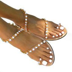 innovative greek sandals - Andromeda Swarovski Transparent - flat sandal