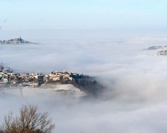 Fog creeping up from the Po valley, around Lirio.