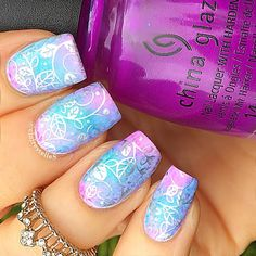 Neon pastel gradient with silver stamping.