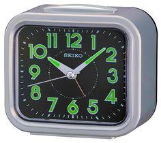 Seiko QHK023SLH Silver Tone Analog Travel Alarm Clock