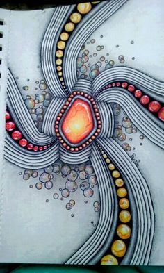 Gemtangle by LuAnn Roosa. 7/16. Zentangle, gem, drawing, art, Marco, colored pencil, micron pens, bubbles