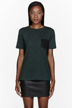 T By Alexander Wang Heather Green Jersey Contrast-pocket T-shirt for women | SSENSE