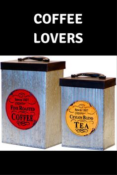 $32.99  Zulily    'Coffee/Tea' Metal Canisters - Set of Two    coffee lovers / café / caffeine / home / kitchen