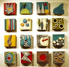 """Artist: Ed & Kate Coleman Ceramic Wall Tiles 4"""" x 4"""" $30 each Designs in stock will vary. Contact us for available options or select quantity and let us choose for you."""