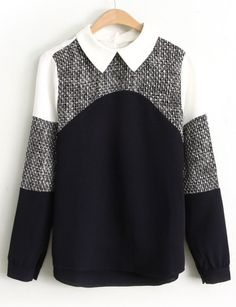 Black Contrast White Long Sleeve Lapel Blouse