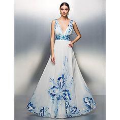 TS Couture Formal Evening / Prom / Military Ball Dress - Print Plus Sizes / Petite A-line / Princess V-neck Floor-length Chiffon – USD $ 129.99