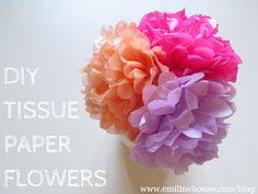 DIY Tissue Paper Flowers - Emiline House   www.emilinehouse.com Find us on Facebook, Twitter, Insagram, Pinterest and Tumblr.