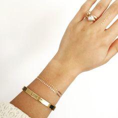 Metallic tattoo and a golden bracelet  #handmade #jewelry #metalstamping