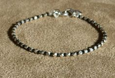 Sterling Silver Bracelet, Black Bracelet, Black and White, Gemstone Bracelet, Dainty Bracelet, Skinny Bracelet by ThreeMagicGenies on Etsy