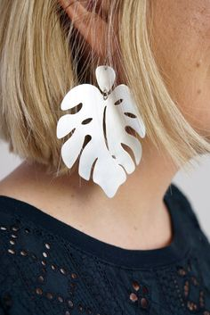 Monstera leaf statement earrings - modern botanical statement earrings by Megan Auman