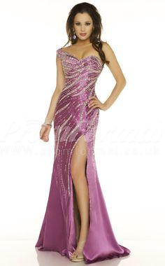 Mermaid One Shoulder Stretch Satin Split Front Floor-length Lilac  Prom Dress promuk.co.uk