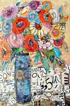 Nancy Standlee Fine Art: Pump Up the Volume 12091 Torn Paper Collage Mixed Media Floral Painting by Texas Collage Artist Nancy Standlee