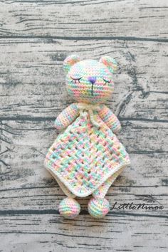 SALE Crochet mint yellow pink baby security blanket Cute