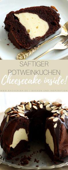Rotweinkuchen mit Cheesecake-Swirl | Bäckerina