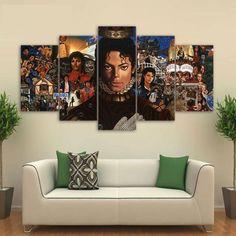 Michael Jackson Icon Music Artist Canvas HD Wall Decor 5PC Framed oil Painting Room Art