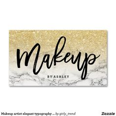 Makeup artist elegant typography gold ombre marble business card