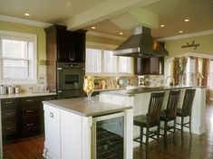 2-tiered island with wine fridge  Kitchen Island Paradise : Rooms : Home & Garden Television