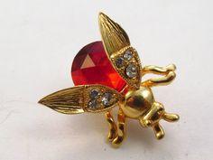 Vintage 1970's red rhinestone jelly belly by tendollarjewelry1
