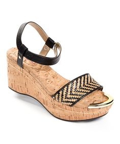 Natural & Black Chanella Wedge Sandal by Me Too