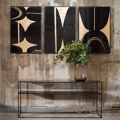 Notre Monde | Bronze Copper Leaf Sofa console - 20731 - Heavy aged mirror top - metal frame