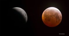 Lunar Eclipse - two views - taken brom Treasure Island, San Francisco. 2015-04-04. (Credit: David Yu)