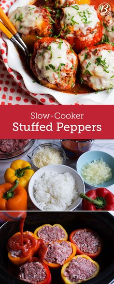 Cook beef Classic beef- and rice-stuffed peppers are now easier to make than ever with some help from your slow cooker. Use any good melting cheese you like! Mozzarella, Jack or even pepper Jack would all be delicious substitutes for the Cheddar. Crock Pot Recipes, Slow Cooker Recipes, Beef Recipes, Cooking Recipes, Healthy Recipes, Crockpot Meals, Crock Pots, Recipies, Slow Cooker Dinners