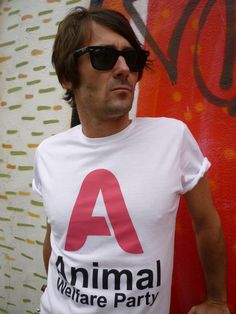 Julian Sudre of Style Alphabet helps support the Animal Welfare Party 2014 EU election campaign by modelling our Animal Welfare Party fairtrade 'A' tee.