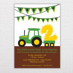Hey, I found this really awesome Etsy listing at http://www.etsy.com/listing/129093790/custom-tractor-birthday-invitation-pdf