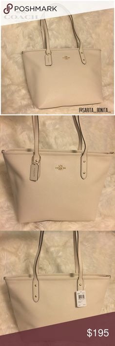 New Coach White Crossgrain Leather Zip Tote Gorgeous Tote by Coach! This is a chalk white Tote with gold hardware. Roomy purple interior with zipper to keep your goods safe. Crossgrain leather is durable and easy to clean! Brand new Coach item, never used and with original tags. 100% authentic purchased directly from Coach. MSRP $295. This would make an amazing birthday, anniversary or Christmas gift for the special lady, girlfriend, wife, mothe, sister or friend in your life! Don't let them…