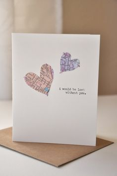 Handmade Anniversary Card - Valentine's Day Card - Handmade Greeting Card - Map Hearts - I miss you - Love Card. $8.00, via Etsy. - Picmia