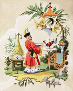 Limited editiongiclee print by Harrison Howard of chinoiserie man bringing water to butterflies in a fantasy setting with a beehive.