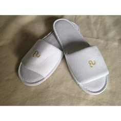 135dbaeae6 Kritzer Marketing from New York NY USA Plush white terry cloth slipper with  open toe in medium one fits all size, Within 4000 stitches of the  embroidery ...