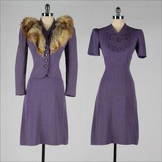 vintage 1940s suit . purple wool . dress with jacket . fur trim . 3222