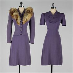 Marvelous 1940s purple dress with matching fur trimmed jacket. #vintage #1940s #dresses #suits #jackets #fashion