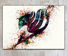Fairy Tail Watercolor digital poster printable digital by GOLDIDI