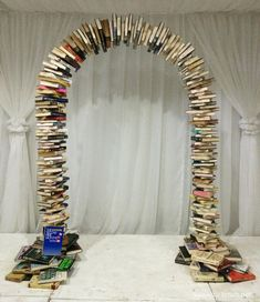 We made something special for my best friend's literary themed wedding - a book arch! Bar Mitzvah Decorations, Bridal Shower Decorations, Wedding Decoration, Library Themes, Library Design, Library Ideas, School Displays, Library Displays, Window Displays