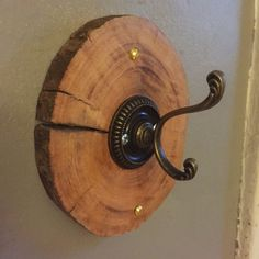 Wood Slice Wall Hooks Set of Three by MadeByMonks on Etsy