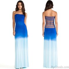 Sexy Strip Hollow Out Back Gradient Color Long Evening Dress only $29.99 in ByGoods.com
